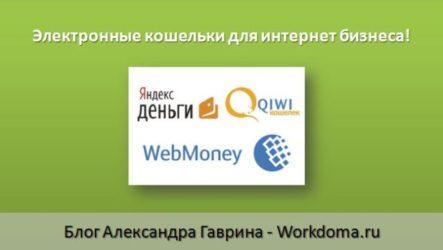 Электронные Кошельки для Вашего Интернет Бизнеса!