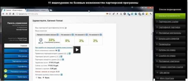 11 видеоуроков по базовым возможностям партнерской программы Попова
