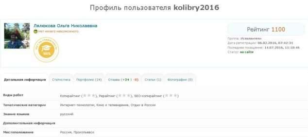 профиль фрилансера Ольга Лялюкова