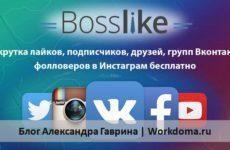 Bosslike – бесплатная накрутка лайков, подписчиков Вконтакте, Инстаграм!