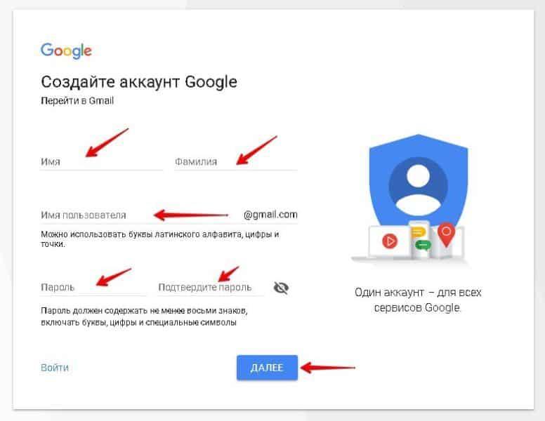 создание аккаунта в Google
