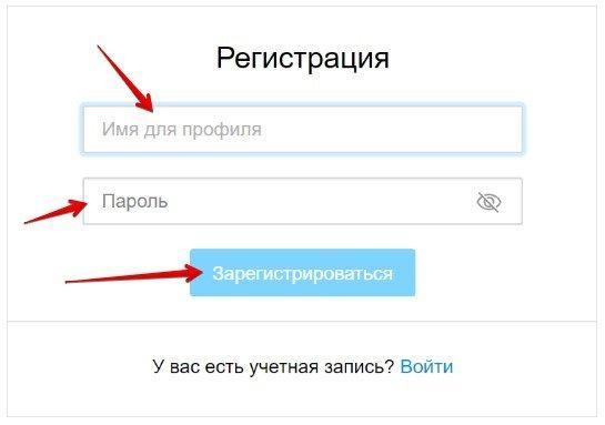 заполняем имя для профиля, придумываем пароль
